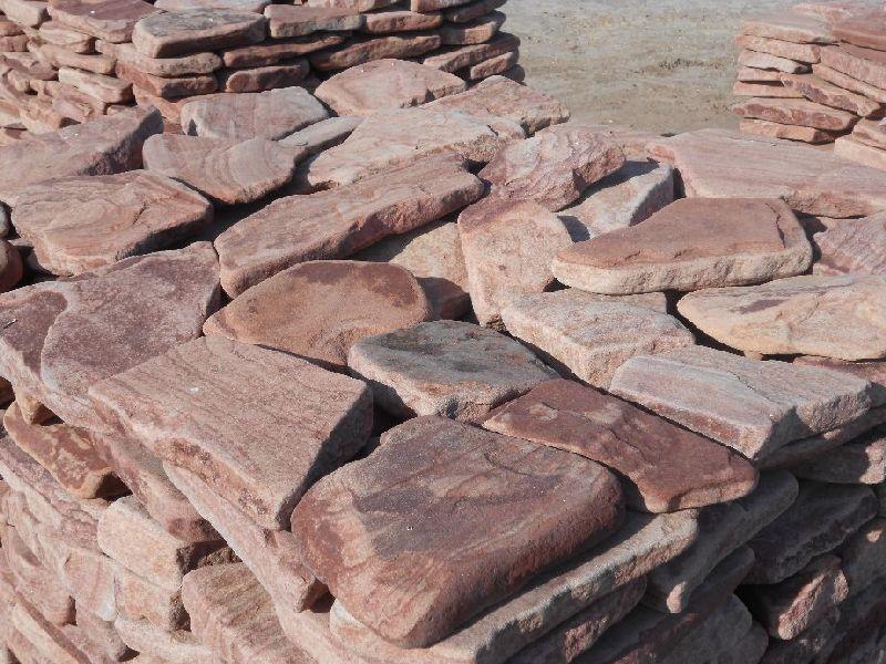 песчаник плитняк розовый галтованный 4см